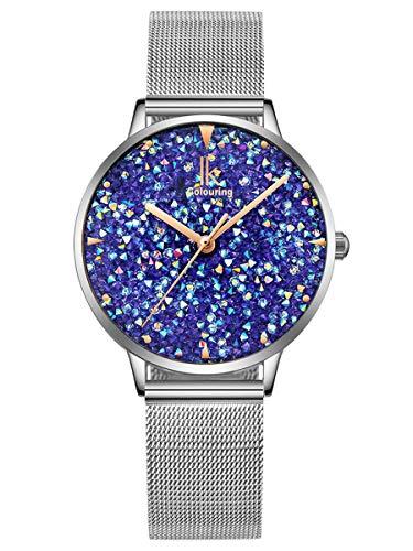 Alienwork Damen-Armbanduhr Quarz Silber mit Metall Mesh Armband Edelstahl blau Strass-Steinen Glitzer elegant