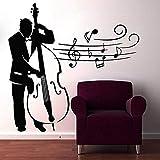 Etiqueta De La Pared Música Contrabajo Músico Cafe Relax Vinilo Etiqueta Decoración Para El Hogar 58X57Cm
