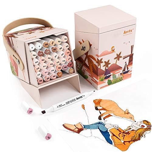 Arrtx ALP 36 Hautfarben Marker Stifte, Alkohol Dual Tips Graffiti Stift mit Box, permanente stifte Nude Tönen für Porträtillustrationen, Skizzieren, Zeichnen, Manga
