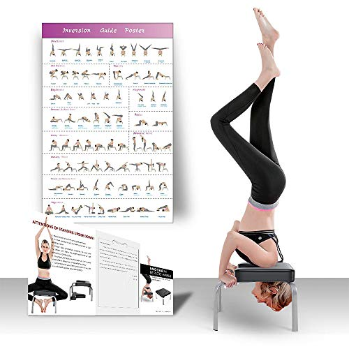 OUNUO Yoga Inversion Chair Headstand Bench, Balance Training, Stand Fitness Body Building and Stress Relieve, Ideal for Home Gym Workout