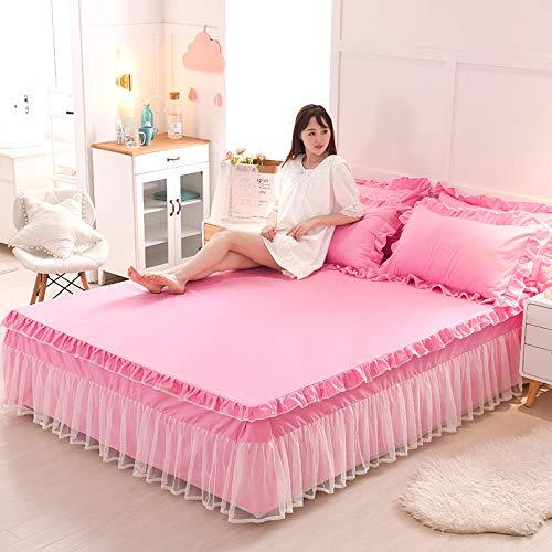Bettrock Tagesdecke Rüschen Bett Rock, Bett Volant Tagesdecke Mit Rüschen Faltenresistent Und Ausbleichen Beständig,Pink3-150x200cm