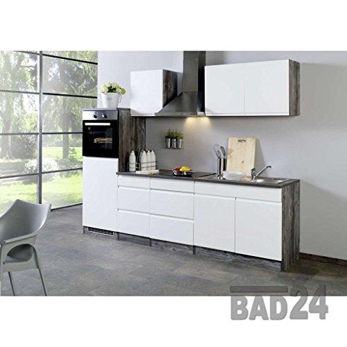 Küchenzeile Leerblock 270 Cliff ohne E-Geräte, Grifflos, Hochglanz weiss/Eiche-Vintage