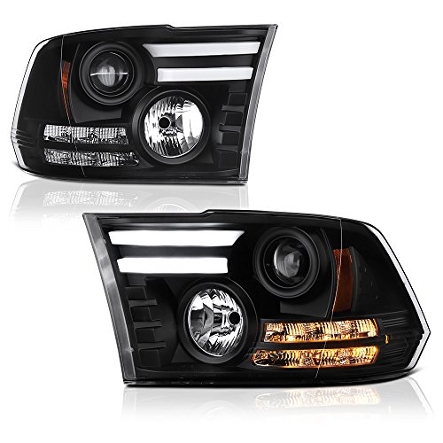 [Exclusive Tribal Edition] VIPMOTOZ Premium OLED Tube Black Projector Headlight Lamp Assembly For 2009-2018 Dodge RAM 1500 2500 3500 Pickup Truck, Driver & Passenger Side