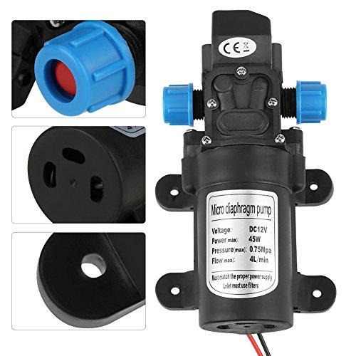 Zelfaanzuigende membraan-waterpomp, 12 V, 45 W, DC micromembraan waterpomp met zelfaanzuiging, geluidsarm, 4 l/min zwart, vloeiend met filter