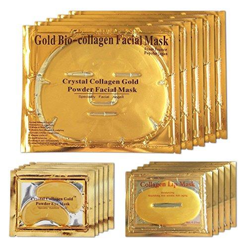 Mascarilla facial de gel de oro de 24 quilates, mascarilla para los ojos, mascarillas de gel para labios, paquete de 5 para antiedad, círculos oscuros, cuidado de los labios