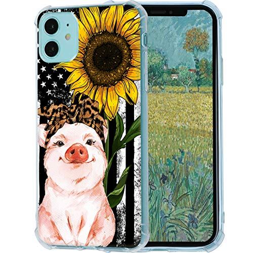 iPhone 11 Case,American Flag Sunflower Leopard Headband Pig Case for iPhone 11 Soft Slim Sillicone TPU Scratch-Resistant Protective Cover Case Compatible with iPhone 11(6.1')