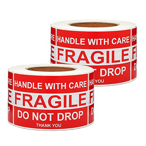SJPACK Large Fragile Stickers 4'' x 6'' Eye-catching Fragile - Handle with Care - Do Not Drop - Thank You Shipping Labels(500 Labels/Roll) (2 Rolls)