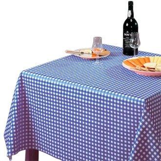 Stalwart E788 afwasbaar tafelkleed, 890 mm x 890 mm, blauw geruit