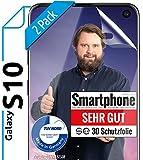 [2 Stück] 3D Schutzfolien kompatibel mit Samsung Galaxy S10 - [Made in Germany - TÜV NORD] HD Bildschirmschutz-Folie - Hüllenfre&lich – Transparent – kein Schutz-Glas - Panzer-Folie TPU - Klar