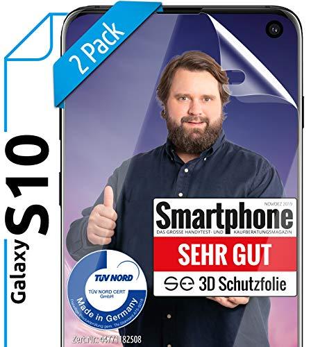 [2 Stück] 3D Schutzfolien kompatibel mit Samsung Galaxy S10 - [Made in Germany - TÜV NORD] HD Displayschutz-Folie - Hüllenfreundlich – Transparent – kein Schutz-Glas - Panzer-Folie TPU - Klar