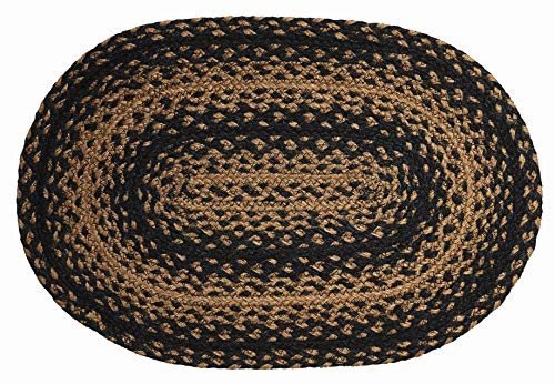 "IHF Home Decor Ebony Design Braided Area Rug 20"" x 30"" Oval Accent Floor Carpet Jute Material"