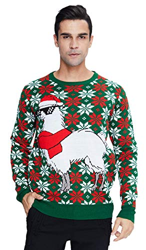 70s Men Over Size Ugly Christmas Sweaters Big and Tall Men's Jumpers White Alpaca with Xmas Scarf Printed Pullover Tops Graphic Crewneck Knitted Sweatshirt for Winter Holiday Party Activity XXL