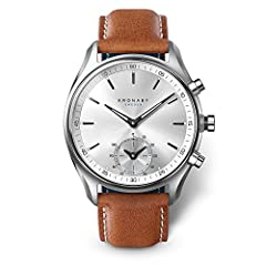 Brown Leather strap Stainless-steel case, White dial Quartz movement Case diameter: 43mm Water resistant: 100m