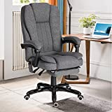 Ergonomic Office Chair, Executive Office Chair with Foot Rest, Wheels and Arms, High Back Comfortable Reclining, Wireless Remote Control, Lumbar Support (Fabric-Dark Grey)