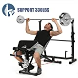 Olympic Weight Bench, Multi-Function Adjustable Weight Bench with Preacher Curl, Leg Developer for Indoor Exercise (Black)