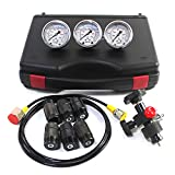 SINOCMP Hydraulic Test Kit Hydraulic Nitrogen Accumulator Charging System and Pressure Test Kit with 3 Gauges, 7 Couplings and 1 Gas Hose, 2 Year Warranty