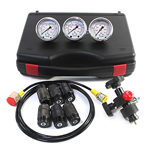 SINOCMP Digital Pressure Gauge Kit with 2 80MPA//12000PSI Pressure Gauges 3 Test Hoses and 12 Couplings Hydraulic Gas Water Pressure Test Kit with Backlight 1 Year Warranty
