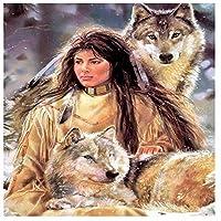 大人の子供のための2000ピースのパズル–インドの女性とオオカミのジグソーパズルのおもちゃ、アートワークアートラージサイズ 70x100cm