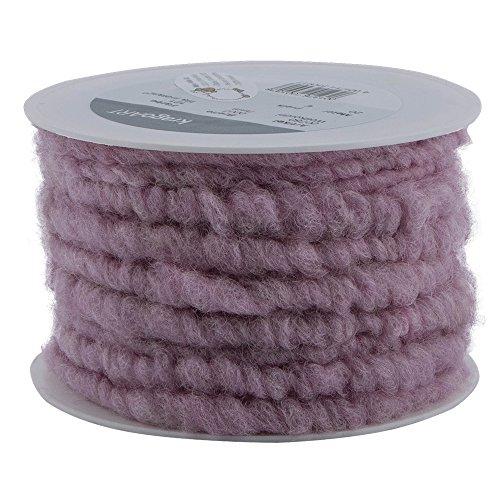 Wollkordel, Wollschnur 7mm breit auf 20m Rolle (lila melange)