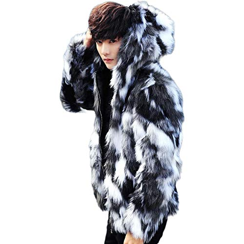 Men's Hooded Faux Fur Coat, Winter Warm Luxury Praka Outerwear, Thicken Soft Full Zip Jacket Cardigan for Men