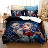 Suicide Squad Duvet Cover Sets Queen Size Joker Harley Quinn Bedding Set Ultra Soft Microfiber 3D Print Bed Set for Teens Adult