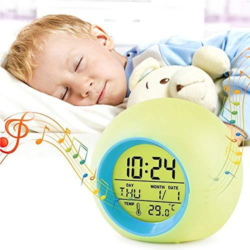 YUES Réveil Numérique,Réveil LED avec Lumière de Réveil,Fonction Snooze,Sons D'alarme Naturels,Rétro-éclairage,Température,Affichage du Calendrier pour Enfants/Travailleurs,Rose