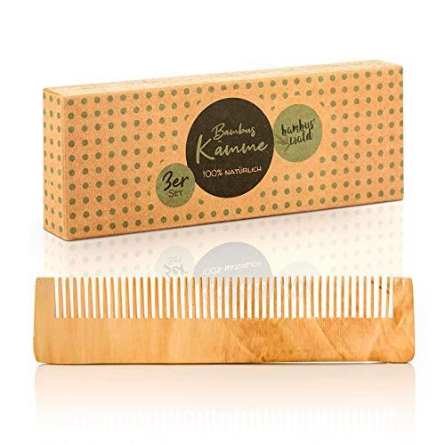 bambuswald© Pettine ecologico in legno di bamboo naturale, fatto a mano - Pettine per capelli, barba o baffi - Pettine in legno districante e antistatico