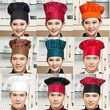 geiqianjiumai Chef Hat Hotel Restaurante Camarero Cocina Chef High Hat Ajuste de Sombrero de Trabajo con elástico Big Red One Size