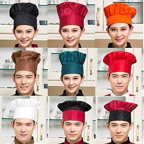 geiqianjiumai Chef Hat Hotel Restaurante Camarero Cocina Chef High Hat Ajuste de Sombrero de Trabajo con Tiras elásticas Azules y Blancas