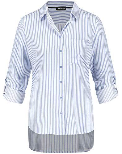 Taifun Damen Streifen-Bluse Mit Glanz-Effekt Leger Blue Marguerite Gemustert 34