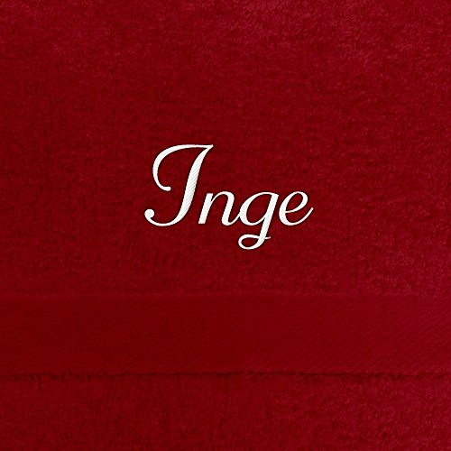 Handtuch mit Namen Inge bestickt, 50x100 cm, rot, extra flauschige 550 g/qm Baumwolle (100%), Badetuch mit Namen besticken, Duschtuch mit Bestickung