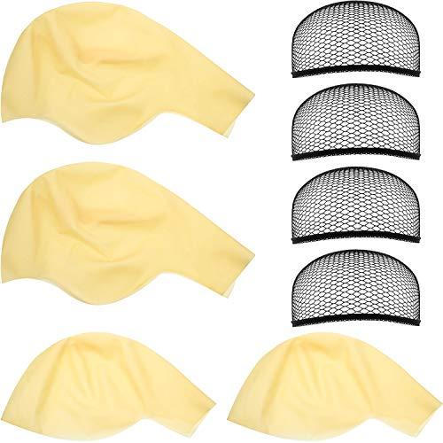 WILLBOND Glatze Kappen Makeup Latex Glatze Perücke Kappe Glatze Hut Kostüm Zubehör(8 Stücke)