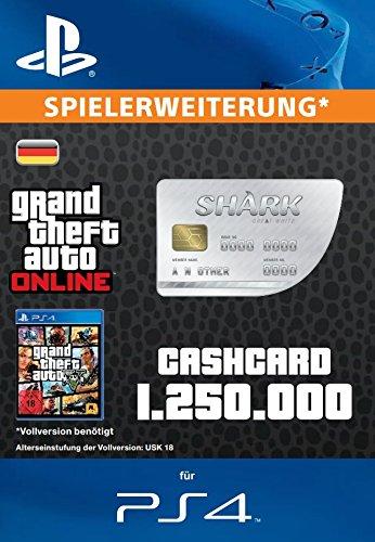 Grand Theft Auto Online | GTA V Great White Shark Cash Card | 1,250,000 GTA-Dollars | PS4 Download Code - deutsches Konto