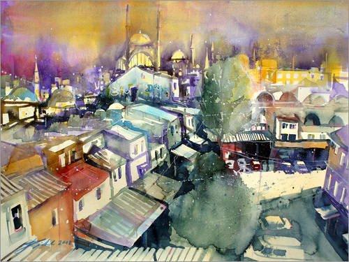 Posterlounge Acrylglasbild 70 x 50 cm: Istanbul, Blick vom Valide Han zur Nuruosmaiye Moschee von Johann Pickl - Wandbild, Acryl Glasbild, Druck auf Acryl Glas Bild