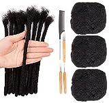 3 Bundles Afro Kinkys Bulk Human Hair for Dreadlocks and Twist Braiding, 50g/Bundle Can be Dyed and BleachedFull Head 100% Human Hair Soft Afro Kinky Curly Hair Bulk for Dreads (6 6 6, 1B Natural Black)