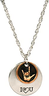 2-Piece I Love You American Sign Language Necklace - Two Tone