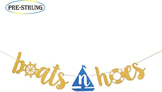 Boats N Hoes Gold Glitter Banner for Funny Nautical Theme Birthday/Bachelorette Party Anchor Cruise Banner Decorations