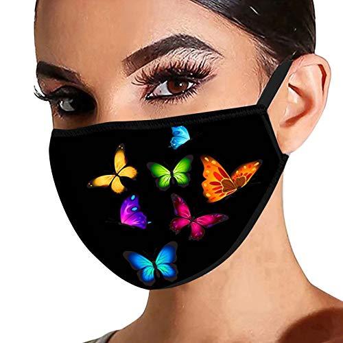 Dwevkeful mit Libellenmuster Mundschutz Waschbar Wiederverwendbar Baumwolle Mund und Nasen Atmungsaktiv Staubschutz Multifunktionstuch Bandanas für Männer und Frauen