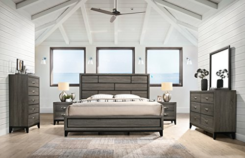 Roundhill Furniture Stout Panel King Size Bedroom Set with Bed, Dresser, Mirror, 2 Night Stands, Chest, Grey
