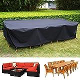 HIRALIY 320cm Abdeckung für Möbelsets, Wasserdicht Winddicht Gartenmöbel Abdeckung für Sofa Set oder Esstisch Set, Draußen 420D Oxford Gewebe Schutzhülle für Gartenmöbel,...