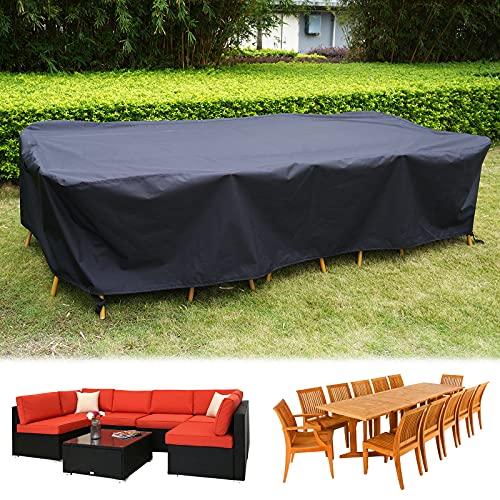 HIRALIY 320cm Fundas Impermeables para Conjuntos de Muebles de Jardín para Juego de Sofás de 6 a 8 Plazas, Funda de 420D Prueba de Viento para Juego de Mesa de Comedor con 10 a 14 Sillas320x200x70cm