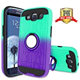 Galaxy S3 Case, Galaxy S3 Phone Case with HD Screen Protector,Atump 360 Degree Rotating Ring Holder Kickstand Bracket Cover Phone Case for Samsung Galaxy S3 Mint/Purple