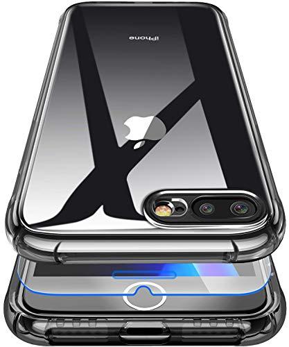 Garegce Coque Compatible avec iPhone 7 Plus / 8 Plus, Verre trempé Protecteur, Transparente Silicone TPU, Antichoc Bumper Protection Cover Compatible avec iPhone 7 Plus / 8 Plus-5.5 Pouces-Noir