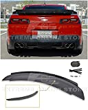 Extreme Online Store Replacement for 2014-2015 Chevrolet Camaro   EOS ZL1 Style Rear Trunk Lid Wing Spoiler with Aluminum Black Center WickerBill Insert (ABS Plastic - Primer Black)