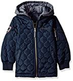 LONDON FOG Boys' Little Quilted Bomber Jacket with Hood, Navy, 7