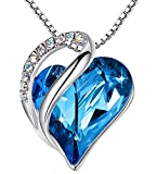 Leafael Infinity Love Heart Bermuda Blue Pendant Necklace Semptember Birthstone Crystal Jewelry Gifts for Women, Silver-Tone, 18'+2'