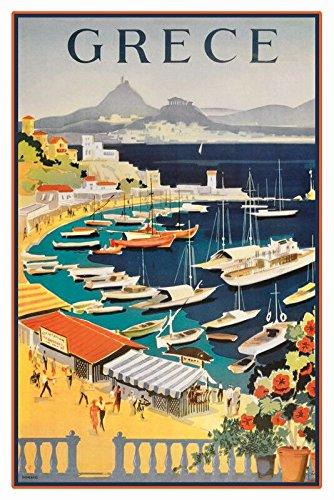 Deko7 - Cartel de chapa 'Grece Grecia' (30 x 20 cm)