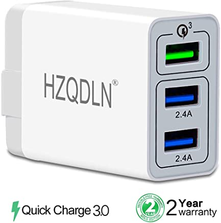 [ QC 3.0 + 2 USB ] Fast Wall Charger 3 Ports Tablet iPad Phone Charger Adapter Qualcomm Quick Charge 3.0 Travel Plug Compatible iPhone X/Xs/XS Max/XR/8/8+/7P/7/6/5 Samsung S8/S7/S6/Edge/Note LG HTC