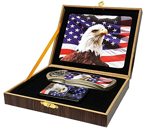 Eagle Head American Flag STYLE #2 Folding Hunting Knife with Oil Lighter in Collectors Box