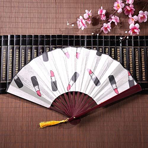WYYWCY Patchs de Poche pour Les Fans de Pliage Japonais de Mode avec Le Rouge à lèvres avec Cadre en Bambou Pendentif Gland et Sac en Tissu Cadeaux pour Les Fans de Fans